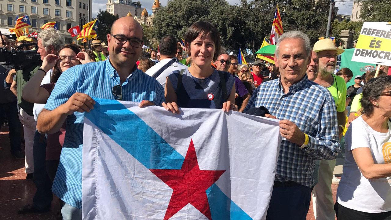 Rubén Cela, Ana Pontón e Camilo Nogueira na Diada 2017